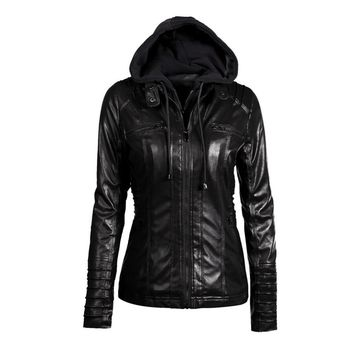 Women's Faux Leather Hooded Jacket
