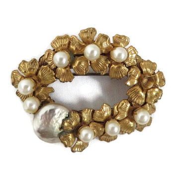 Miriam Haskell Brooch Faux Pearl Goldtone Wreath Designer Signed Vintage Costume Jewelry