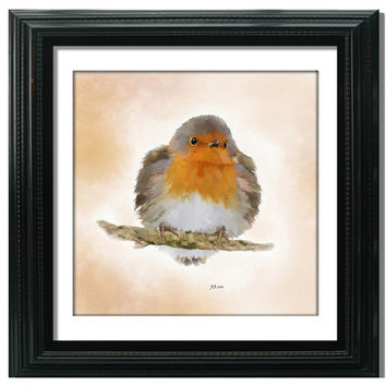 Robin Fine Art Print, Bird Painting, Christmas Gift, 8x8 - 16x16 inch, Wall Art, Home Decor