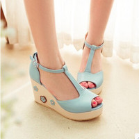 Women new fashion spring summer Sweet wedges color block flower open toe 9cm high-heeled sandals buckle shoes plus size 40-43