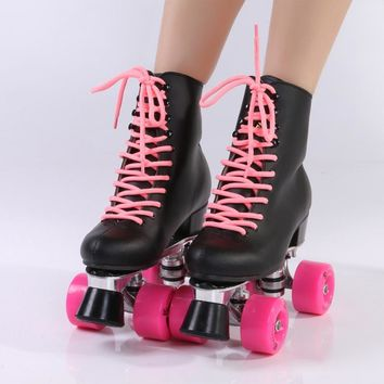 Double row roller skate leather black high boot pink wheels skating shoe Aluminum allo