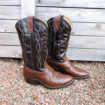 Vintage Texas brand boots / size 8.5 D mens / cowboy boots /  brown leather western boots / Texas All American made in USA