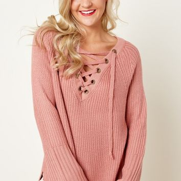 Laces Out Dusty Rose Sweater