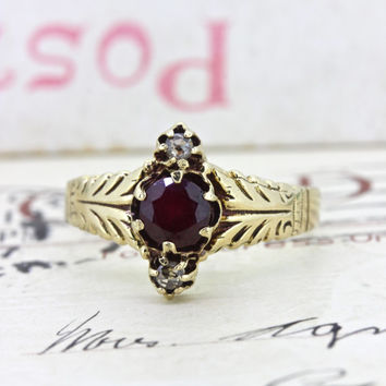 Victorian Ring | Garnet Promise Ring | Navette Ring | Unique Engagement Ring | 9k Yellow Gold Ring | Antique Birthstone Ring | Size 6.5