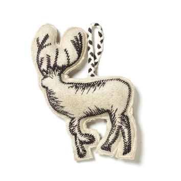 Embroidered Deer Ornament - Ivory/Grey