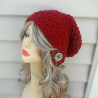 Crochet slouchy Hat Burgundy Beanie Slouch Hat Womens Hat Don't Forget to use 25% off Coupon!!
