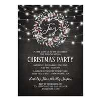 Rustic Joy Merry Christmas Wreath Holiday Party Card