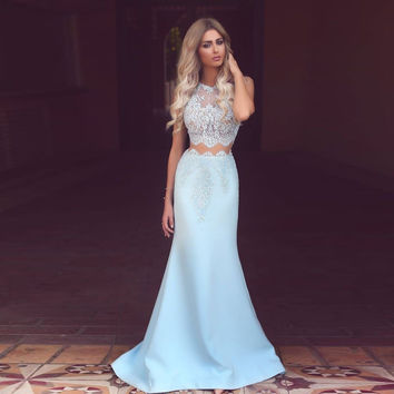 2017 New Elegant Mermaid Lace Evening Dress 2 Pieces Baby Blue Girls Party Dresses Vestidos de Festa Stain Tank Prom Gown