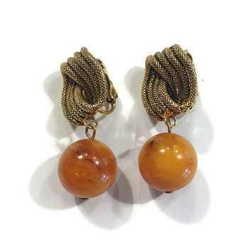 1940s 1950s Earrings, Vintage Butterscotch Bakelite Dangle Clip Earrings