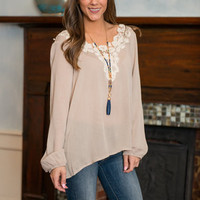 Right To Retro Blouse, Taupe