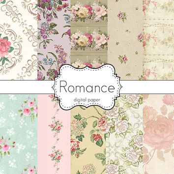 Instant Download-Romance Romantic Floral Garden Roses Cottage Shabby Chic Digital Scrapbooking Paper Pack Personal and Commercial Use
