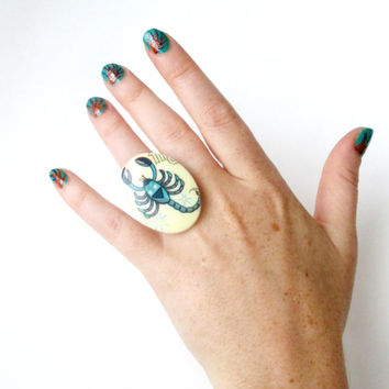 Scorpio. Vintage Zodiac Cocktail Ring