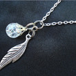Leaf Crystal Fried Marble Nature Chain Necklace