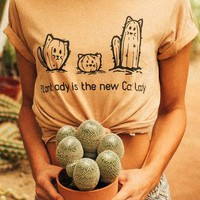 Plant Lady Is The New Cat Lady Vintage Graphic Cute Tee Shirt