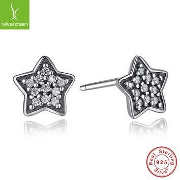 100% 925 Sterling Silver Star Stud Earrings For Women Compatible with Pandora Jewelry