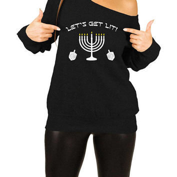 Funny Hanukkah Sweater Holiday Pullover Chanukah Jewish Clothing Holiday Present Hanukkah Menorah Off The Shoulder Slouchy Sweatshirt -SA693