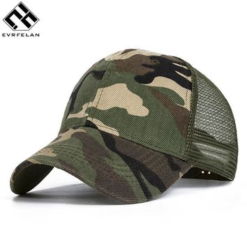 Evrfelan Camo Mesh Baseball Cap Men Camouflage Caps Masculino Summer Hat Men Army Cap Trucker Snapback Hip Hop Dad Hat