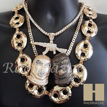 "Iced Out Goon Mask AK47 Pendant 30"" Puffed Gucci Cuban Tennis Choker Chain Set 6"
