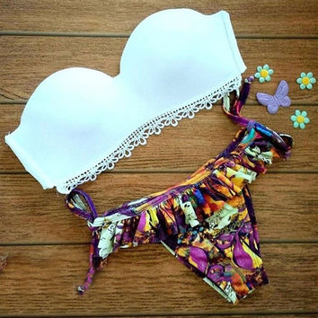 Women's Fashion Sexy Lace Hem Bandeau Bikini Top Print Side Tie Bikini Bottom ruffle = 1955930692