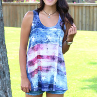 USA Flag Burnout Tank {Navy Mix}