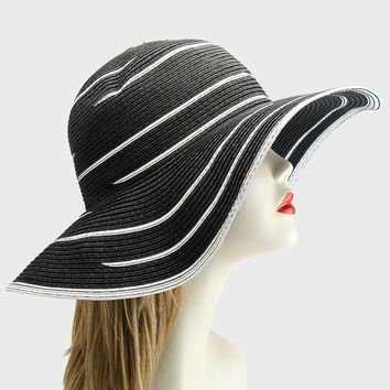 2015 Black White Wedding Dress Hat Kentucky Derby Hat Women Wide Brim Church Hat New