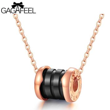GAGAFEEL Charms Necklace Pendants Women Jewelry Roman Numerals Stainless Steel Pottery Pendant Clavicle Luxury Gift Adjust Chain