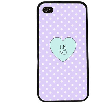 UM NO Case / Hipster iPhone 4 Case Polka Dot iPhone 5 Case iPhone 4S Case iPhone 5S Case Summer Trendy Retro Pastel Heart iPhone 5C