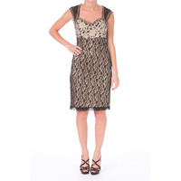 Sue Wong Womens Lace Embroidered Cocktail Dress