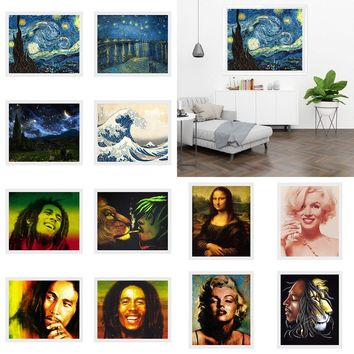 Oil Painting Bob Marley Canvas Print Painting Wall Mural Hanging Art Home Decor