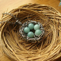 Custom Rustic Robin's Nest Necklace in sterling silver, you choose number of eggs Mother's Day