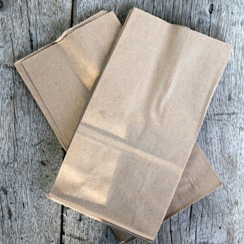 100 Extra Small Brown Kraft Paper Bags, party favors, Paper Lunch Bags, Grocery Bag,  weddings diy 3.5x6.5x2