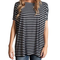 Black Stripe Piko Short Sleeve Top