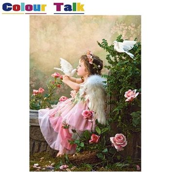 Acrylic Oil Painting by Numbers on Canvas Drawing for Kids Room DIY Art Flower Paint by Numbers Home Decor Angel Girl P-0392