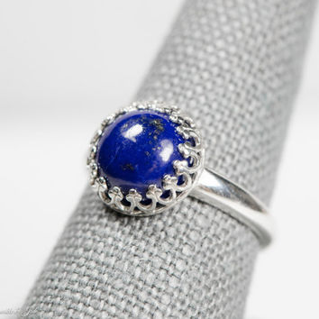 Sterling Silver 10mm Round Lapis Lazuli  Cabochon Crown Ring