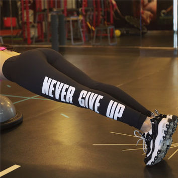""" Never Give Up "" 2016 Trending Fashion Women Slim Fit Sport Suit Fitness Sportswear Stretch Exercise Yoga  Alphabets Words Leggings Trousers Pants _ 2152"