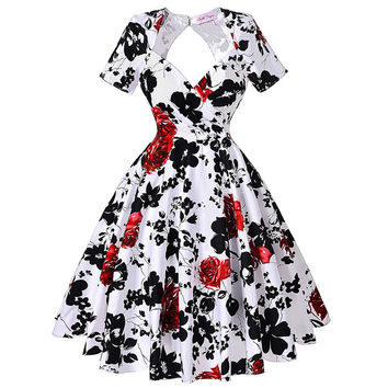 Summer style rockabilly dress women hollowed back Audrey hepburn swing 50s vintage floral vestidos short sleeve print dress 2016