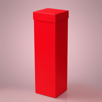 Red Deluxe Two Piece Wine Liquor Bottle Tall Gift Favor Boxes, 4 x 4 x 15 inches, 25 pack