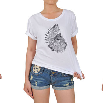 Women Animals wear headdress Graphic Printed Cotton T-shirt  WTS_12