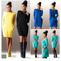 Winter Slim Long Sleeve One Piece Dress [8489017677]