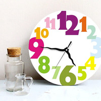 Wall clock bright rainbow typography large numbers round clock kids wall clock home wall decor