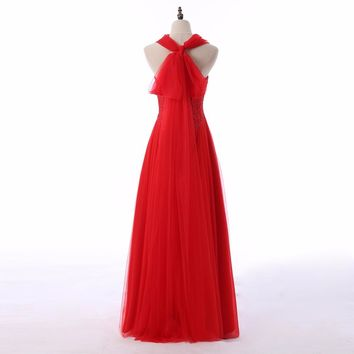 Red Tulle Sleeveless A Line Lace Beading Long Prom Dresses Lace Up Floor Length Beading Prom Dress