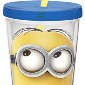 Zak! Designs Insulated Tumbler with Screw-on Lid and Straw and Despicable Me 2 Minions Graphics, BPA-free Plastic, 13-ounce
