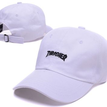 Fashion White Thrasher Embroidery Sports Baseball Cap Hats
