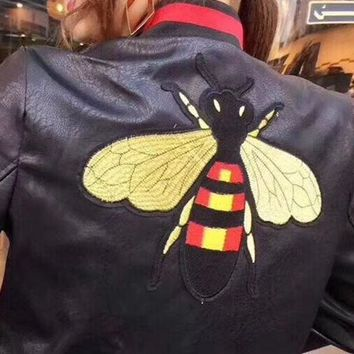 Tagre™ GUCCI Bee Embroidery Leather Long Sleeve Cardigan Jacket Coat