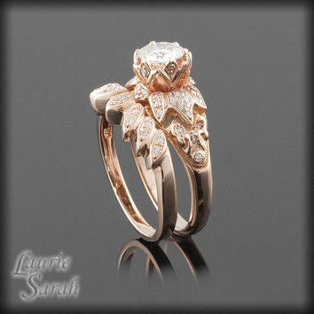 Moissanite Lotus Flower Engagement Ring and Wedding Ring Set - Payment Plan for Singee -17th Payment