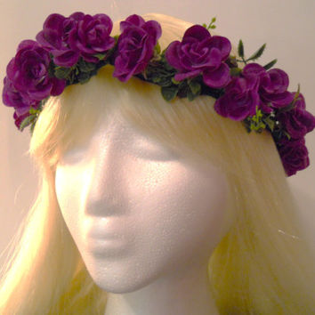 Flower Crown, Head Wreath, Purple, Rose, for Wedding, Bridal, Flower Girl, Floral Garland, Halo, Party, Music Festivals, Renaissance Fairs