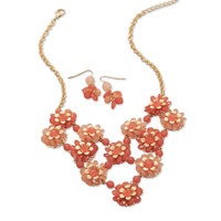 Orange Flower Bouquet Fashion Necklace and Earring Set