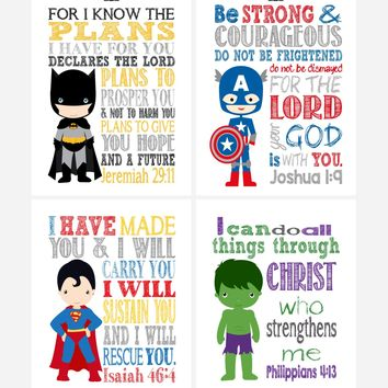 Superhero Christian Nursery Decor Art Print Set of 4 - Batman, Captain America, Superman and Hulk