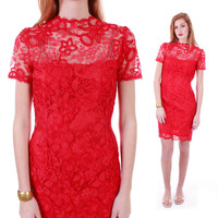 Vintage Red Lace Wiggle Dress Illusion Bust Hourglass Mini Holiday Party Retro Clothing Women Size XS Small