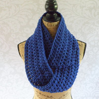 Ready To Ship Infinity Scarf Crochet Knit Royal Blue Women's Accessories Eternity Fall Winter